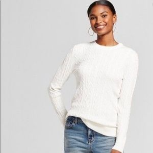 A New Day White Cable Knit Pull Over Sweater, XL